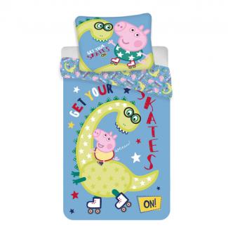 Jerry Fabrics Peppa Pig Dino Kinderbettwäsche mit Wendemotiv 140x200 cm / 70x90cm aus Baumwolle