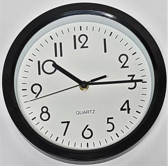 Wanduhr schwarz Quarzuhr Uhr Bürouhr Werkstattuhr Hängeuhr