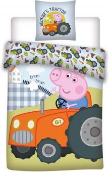 036 Peppa Pig Bettwäsche, Kinderbettwäsche/Babybettwäsche, Peppa Pig Georges Tractor, Wendebettwäsche, Kissenbezug 40x60+Bettbezug 100x135cm, 100% Baumwolle Oeko-TEX