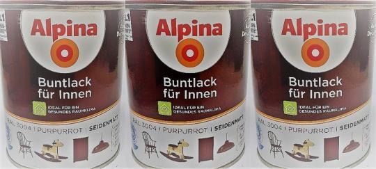 Alpina Buntlack innen seidenmatt PURPURROT Lacke RAL 3004