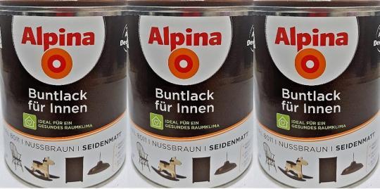 Alpina Buntlack innen seidenmatt NUSSBRAUN Lacke RAL 8011