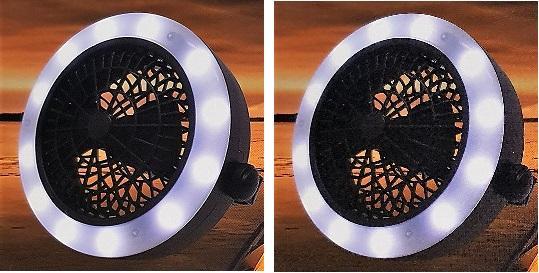 2in1 Ventilator mit LED Licht Lüfter Gebläse Tischventilator Outdoor