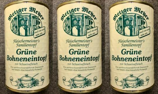 Grüner Bohneneintopf 1160g Bohnensuppe mit Schweinefleisch Dose Bohnen Eintopf