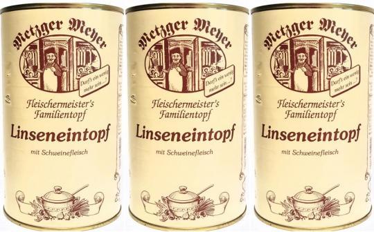 Linseneintopf (3x) 1200g mit Schweinefleisch Eintopf Linsen Suppe