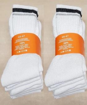 Sportsocken 20 Paar Herren Socken Gr. 44 - 47 weiß 100% Baumwolle