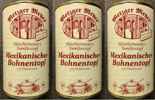 Mexikanischer Bohneneintopf (3x) 1200g mit Fleischwurst Bohnensuppe