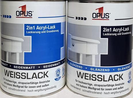OPUS1 Weisslack 2,5L 2in1 Acryl-Lack Lackierung Grundierung Lack