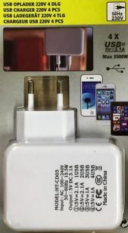 STECKER Lade-Adapter 4 USB-Ports Wand Ladegerät 220V Power Adapter max 3500 W