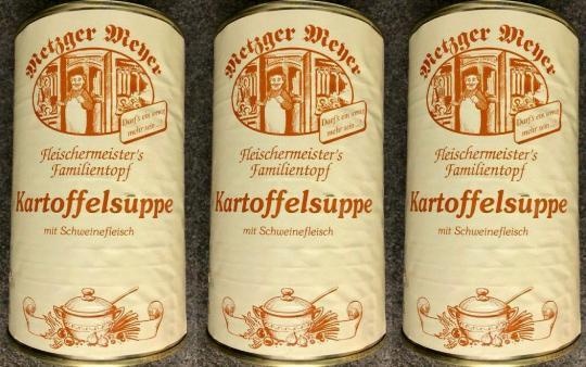 Kartoffelsuppe 1160g (3x) Eintopf mit Schweinefleisch Dosen Suppe