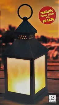 LED Laterne mit Flammeneffekt flackerndes Licht Lampe  Kunststoff