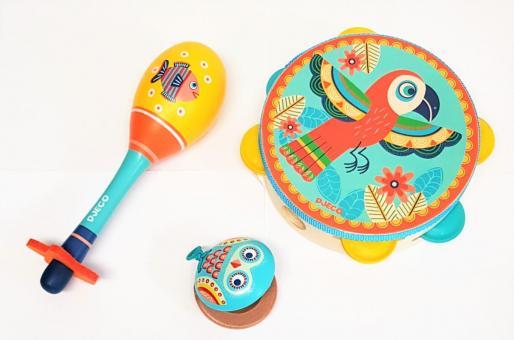 DJECO Instrumenten Set 3 tlg Kastagnette Tamburin Maracas Musik Instrument