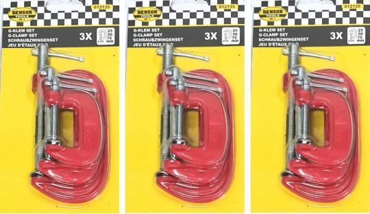 3er Set Schraubzwingen (3x) Mini-Schraubzwingen Zwinge 25 50 75cm