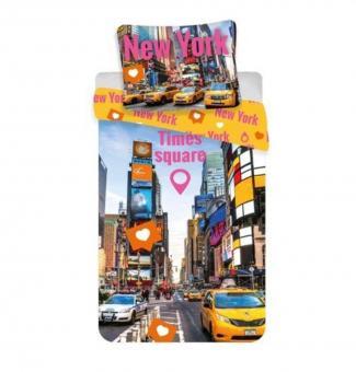 Jerry Fabrics Times Square Kinderbettwäsche mit Reißverschluss Bettbezug 140 x 200 cm und Kissenbezug 70 x 90 cm, Baumwolle, Mehrfarbig, 200 x 140 x 0.5 cm