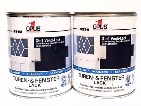OPUS1 Türen- & Fensterlack 2x 750ml Ventilack weiß glänzend